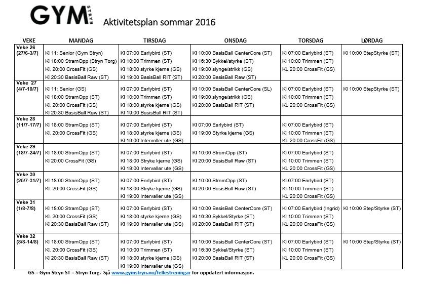 Sommarplan 2016 med sted