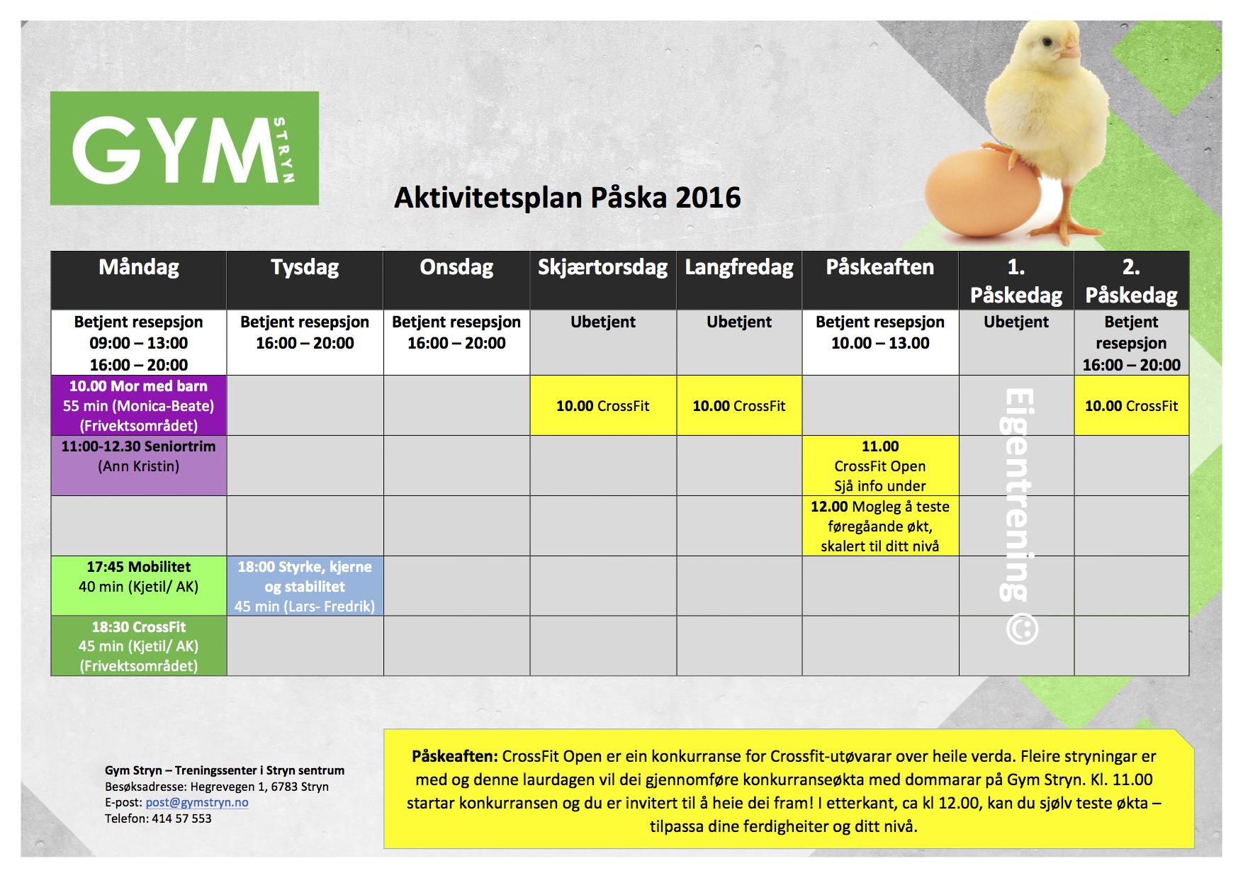 Aktivitetsplan påska 2016
